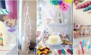 Festa di compleanno con arcobaleni e unicorni