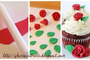 Decorazioni per torte di compleanno: rose e foglie