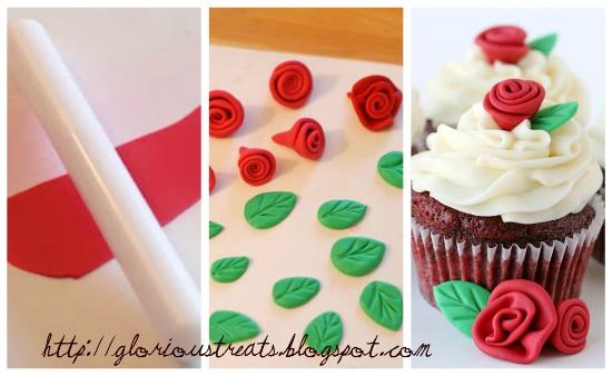Decorazioni per torte di compleanno rose e foglie feste - Decorazioni natalizie per torte ...