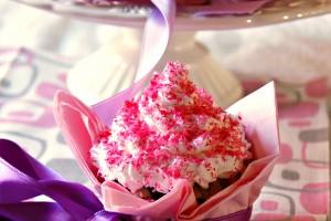 Cupcake di compleanno rosa