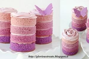 Tortine a strati rosa e viola