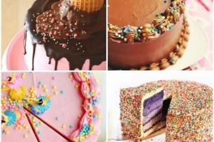 Torte di compleanno con zuccherini colorati