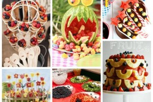 Festa di compleanno con la frutta