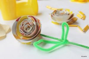 Decorazioni compleanno con piatti di carta riciclati