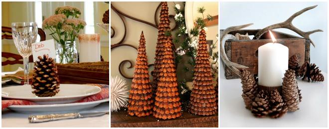 Decorazioni di natale con le pigne feste e compleanni - Decorazioni per la tavola ...